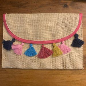 NWT Imoshion Straw Clutch with Multicolor Tassels
